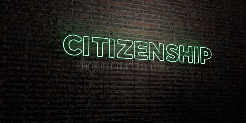 公民身份-在砖墙背景的现实霓虹灯广告- 3D回报了皇族自由储蓄图象 向量例证