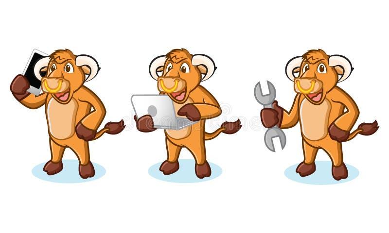 公牛与膝上型计算机的奶油吉祥人 库存例证