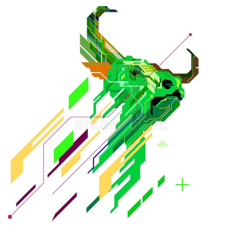公牛以图例解释者商标geomatric样式的,股票市场看涨趋向线艺术图表 皇族释放例证