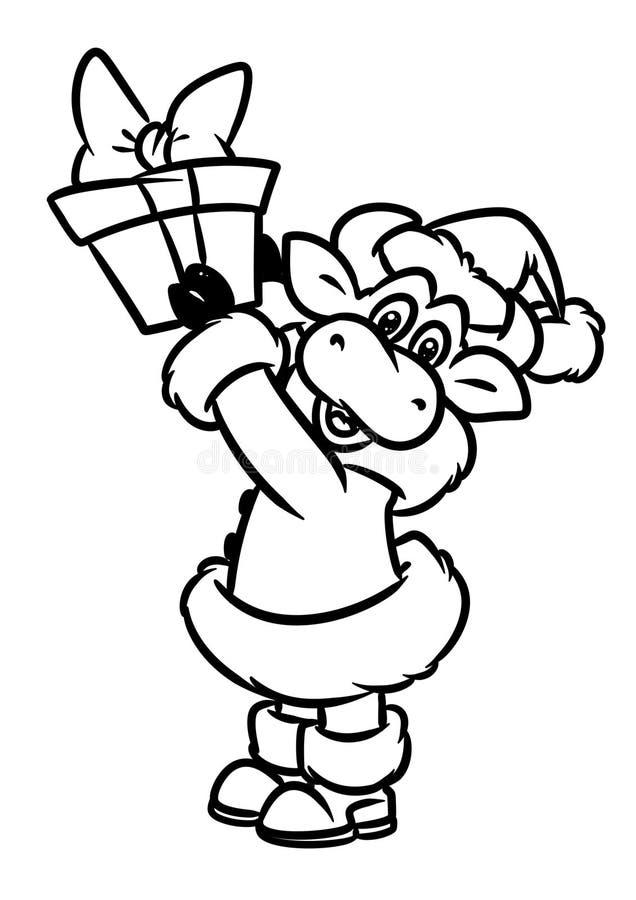 公牛圣诞老人项目圣诞礼物动物字符动画片着色页 向量例证