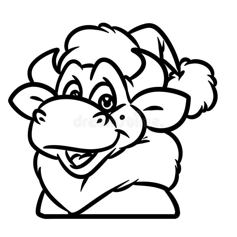 公牛圣诞老人项目画象圣诞节动物字符动画片着色页 向量例证