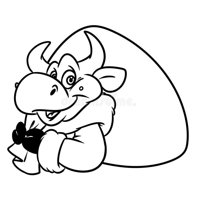 公牛圣诞老人项目请求礼物画象圣诞节动物字符动画片着色页 向量例证