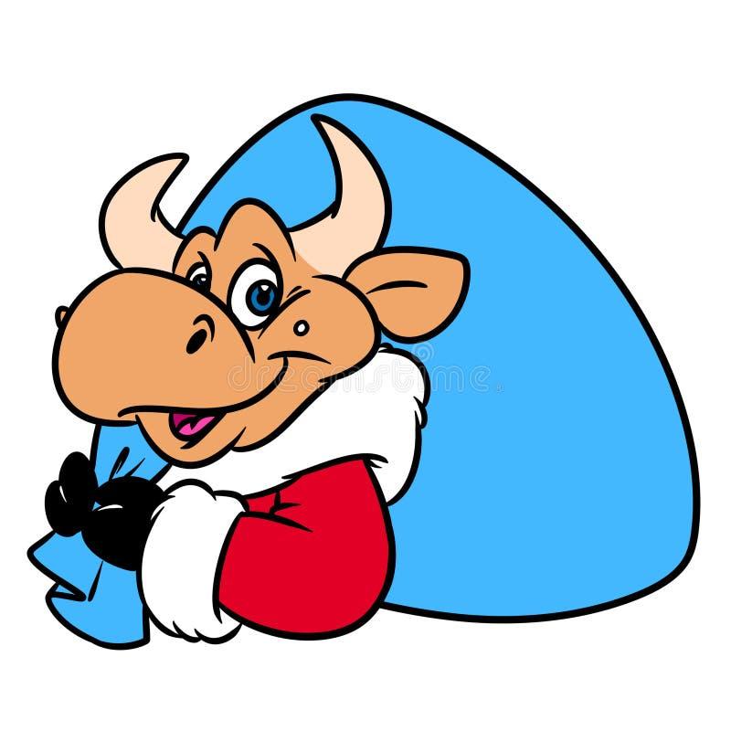 公牛圣诞老人项目请求礼物画象圣诞节动物字符动画片 皇族释放例证