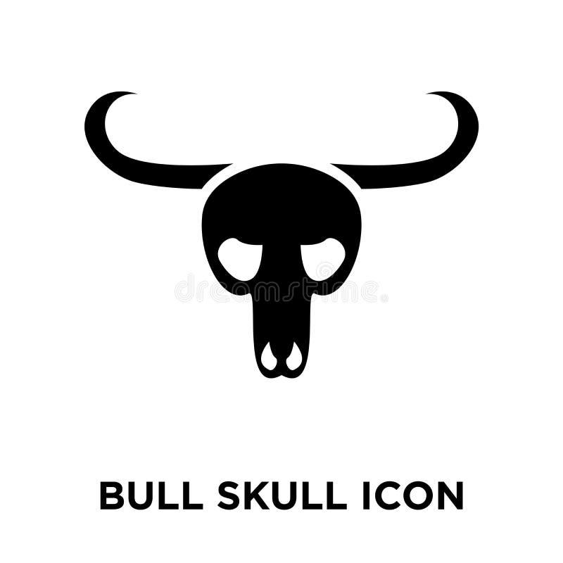 公牛头骨在白色背景隔绝的象传染媒介,商标concep 向量例证