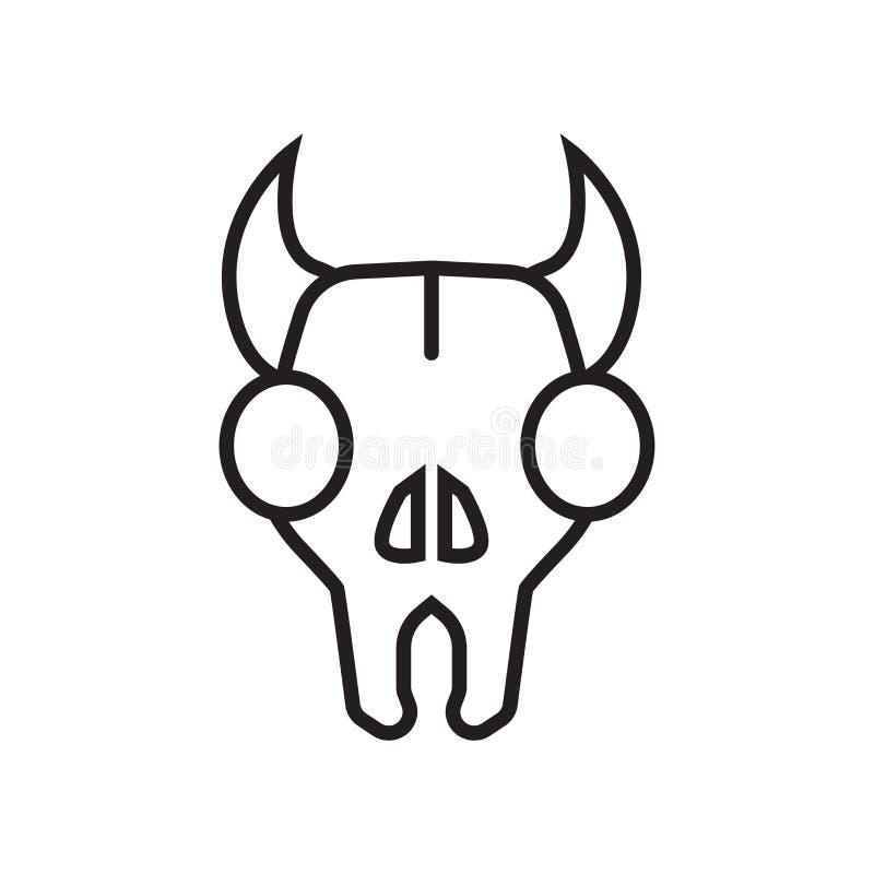 公牛头骨象在白色backgro和标志隔绝的传染媒介标志 向量例证