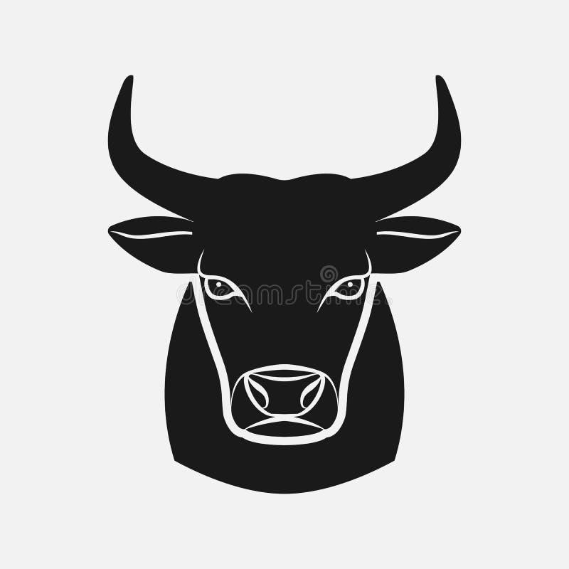 公牛头黑色剪影 牲口象 库存例证