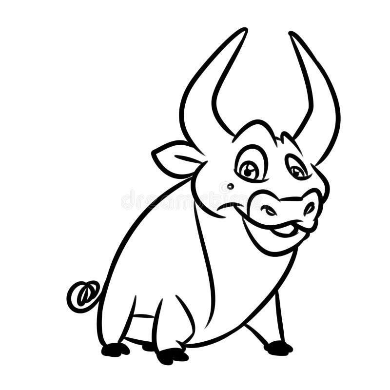 公牛快乐的字符上色页动画片 向量例证