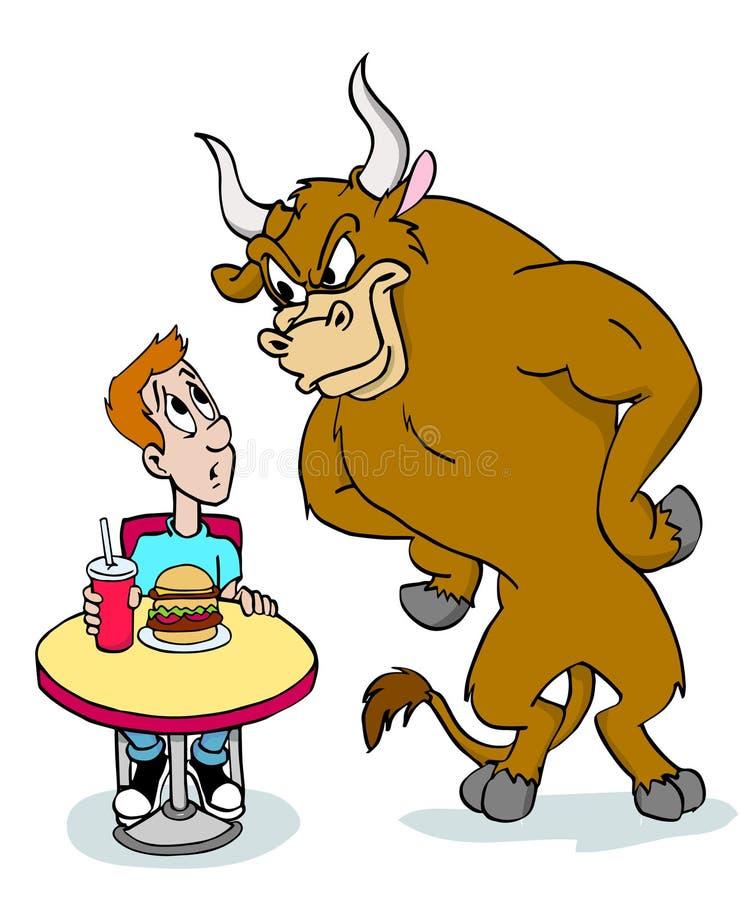 公牛疯狂关于汉堡包 皇族释放例证