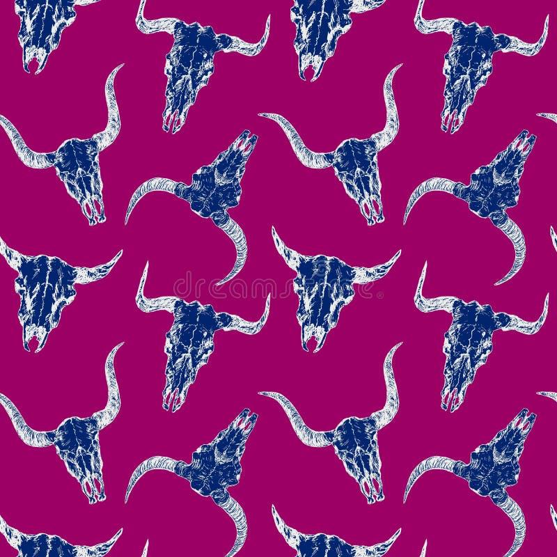 公牛的蓝色头骨与垫铁,白色概述,手拉的墨水乱画,剪影,在紫色的无缝的样式设计的 向量例证