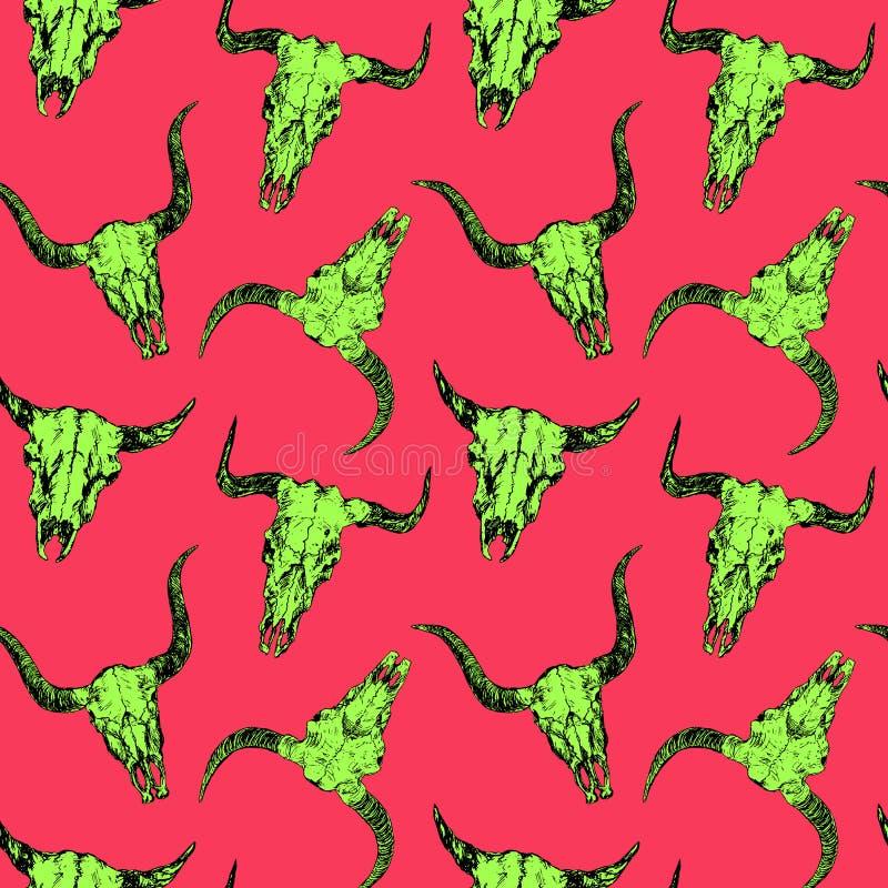 公牛的鲜绿色的头骨与垫铁,手拉的墨水乱画,剪影,在桃红色的无缝的样式设计的 库存例证