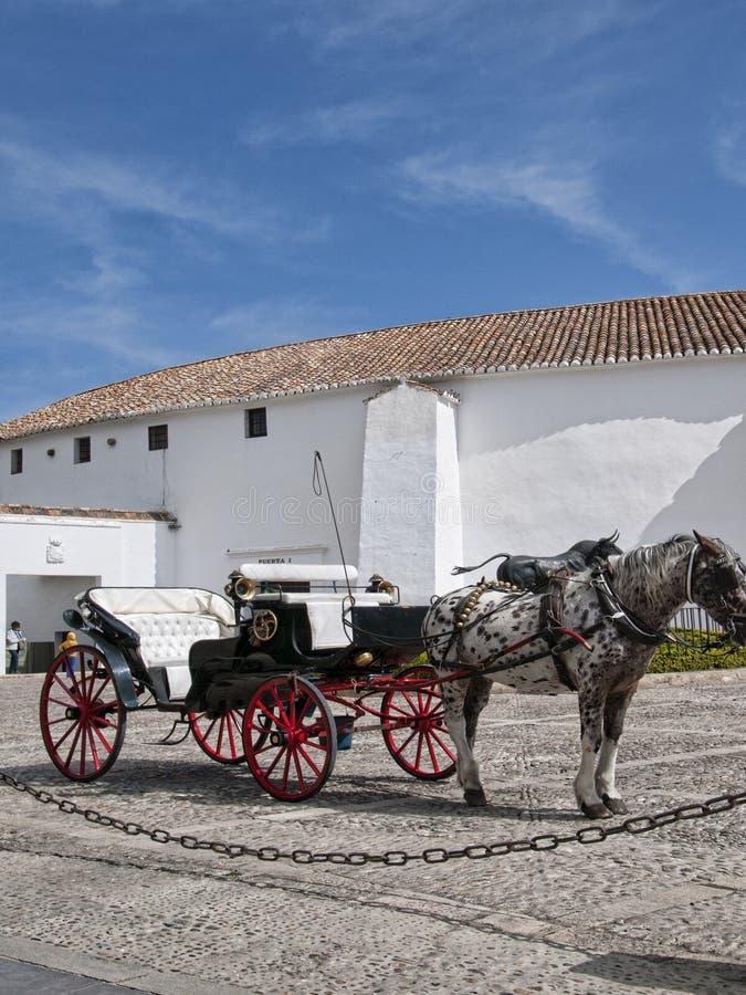 公牛雕象由斗牛场的在朗达安达卢西亚西班牙 库存图片