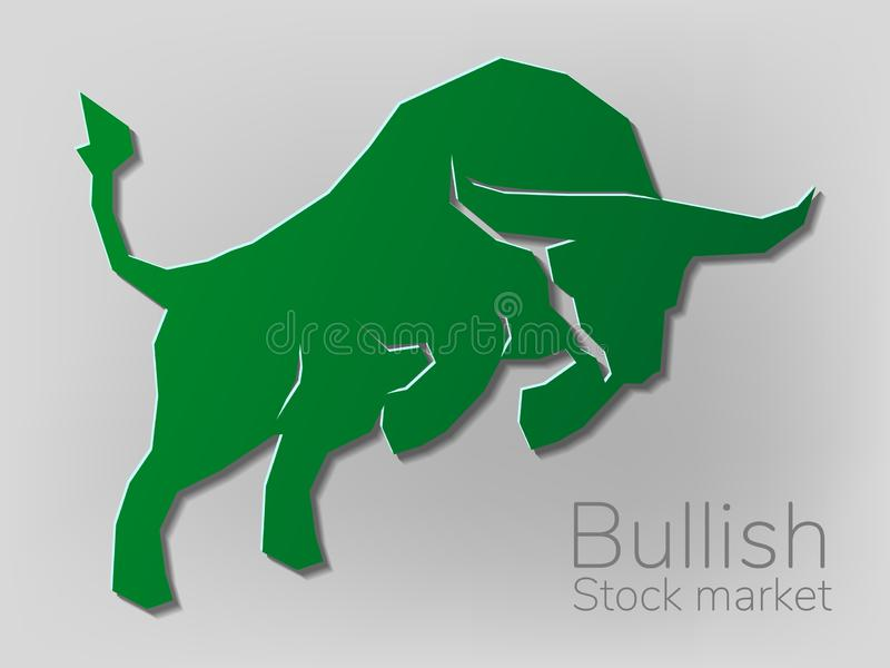 公牛geomatric样式lowpolygon,在股票市场传染媒介例证的看涨标志 传染媒介外汇或商品图, 库存例证