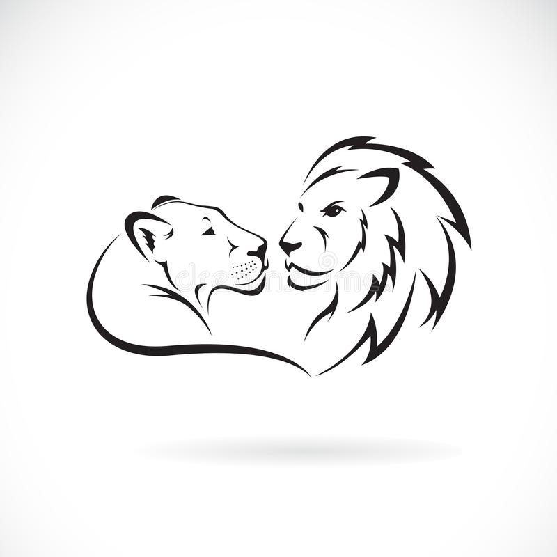 公狮子和女性狮子设计在白色背景 E 狮子商标或象 容易的编辑可能的层状传染媒介例证 皇族释放例证