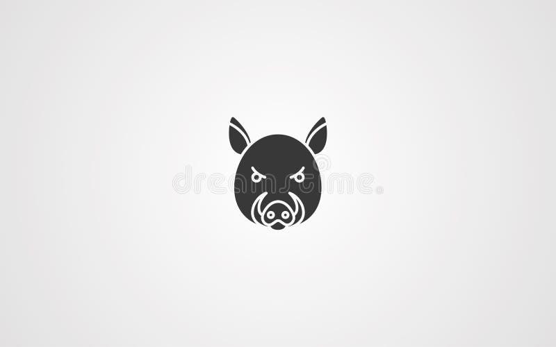 公猪传染媒介象标志标志 向量例证