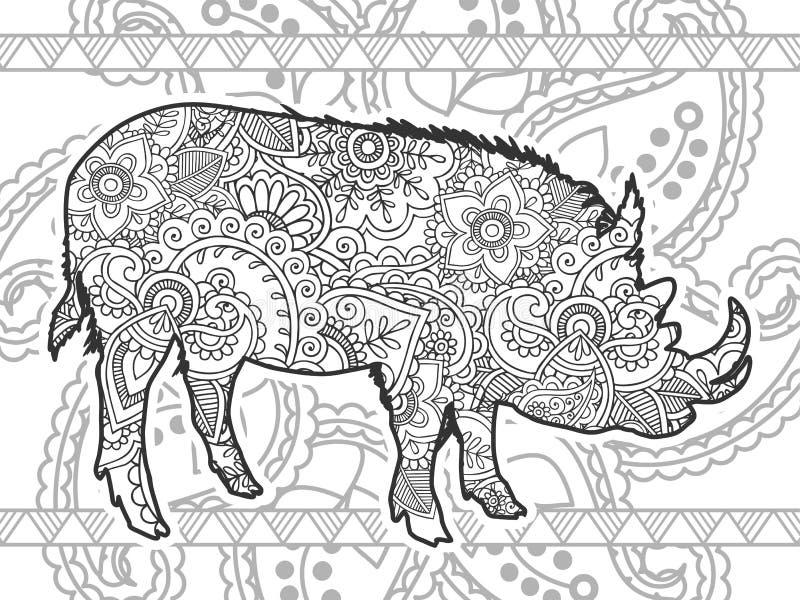 公猪黑白动物手拉的乱画 库存例证