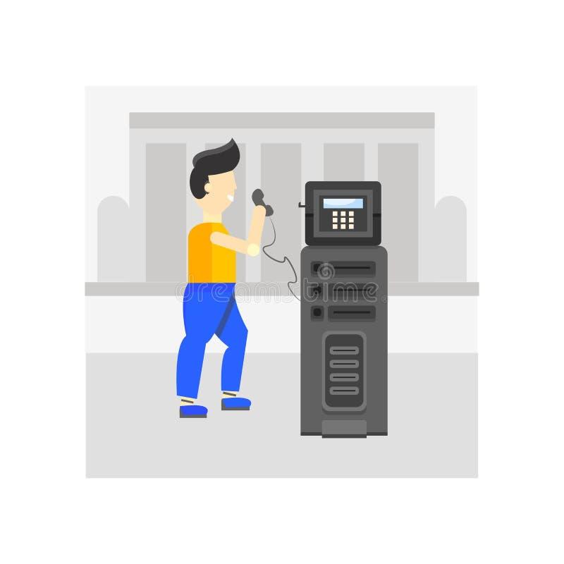 公用电话象在白色backg和标志隔绝的传染媒介标志 向量例证