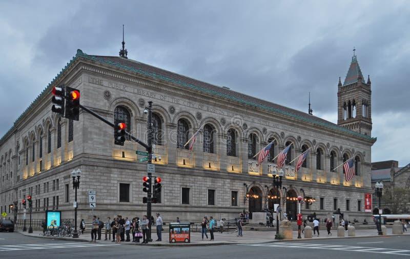 公立图书馆的外部科普利的在巴克湾波士顿马萨诸塞 免版税库存照片