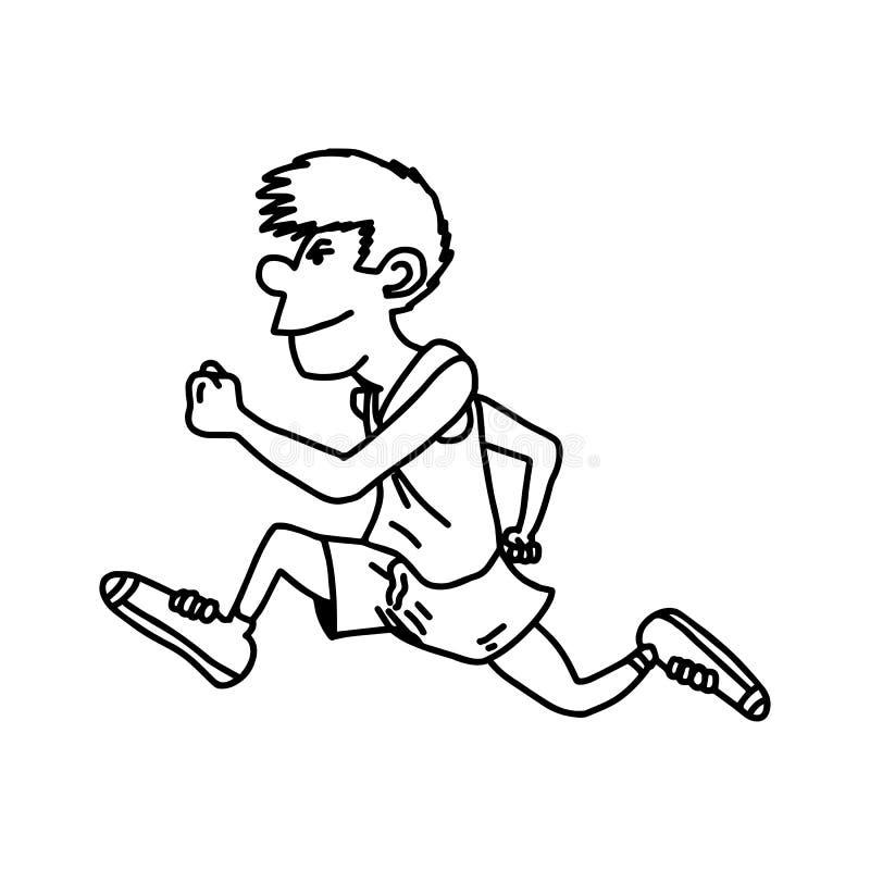 公赛跑者-导航例证剪影手拉与黑l 向量例证