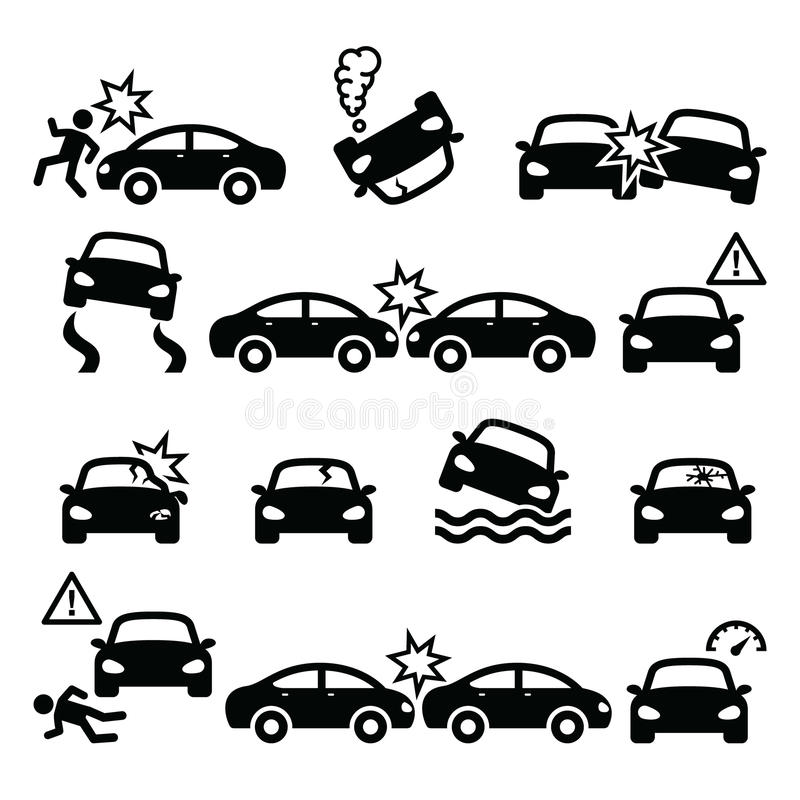 公路事故,车祸,被设置的人身受伤象 向量例证