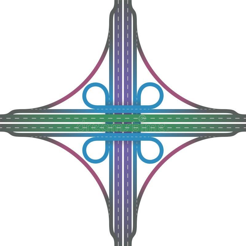 公路交叉点苜蓿叶形立交路口互换颜色 向量例证