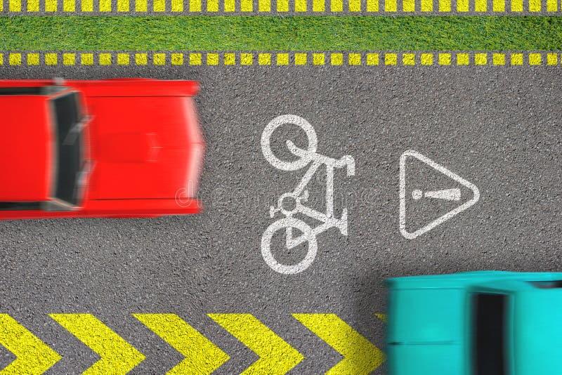 公路交通进攻 驾驶由自行车道 骑自行车的安全的概念 在路的顶视图有自行车道路标志的和标记和移动 库存图片