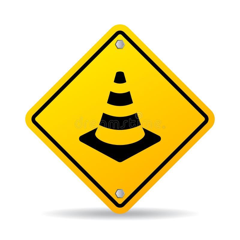 公路安全锥体传染媒介标志 库存例证