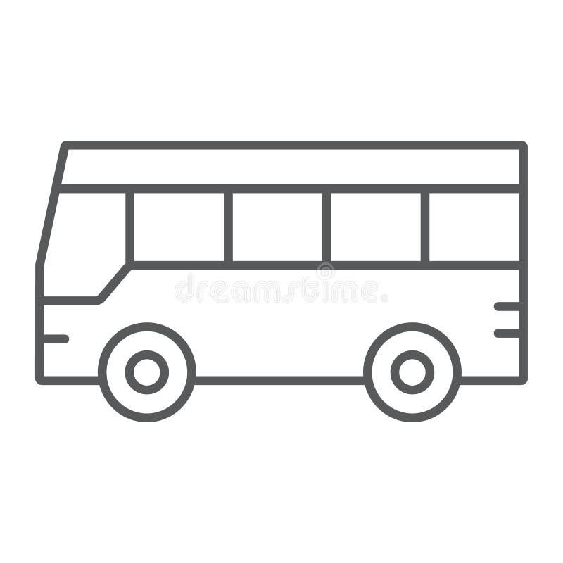 公车运送稀薄的线象,交通和公众,车标志,向量图形,在白色背景的一个线性样式 库存例证