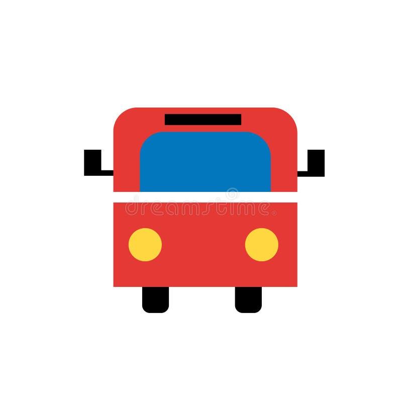 公车运送象在白色背景和标志隔绝的传染媒介标志,公共汽车商标概念 向量例证