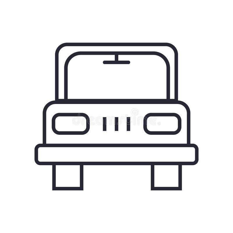 公车运送象在白色背景和标志隔绝的传染媒介标志,公共汽车商标概念 皇族释放例证