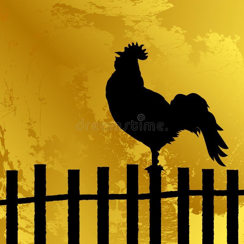 公鸡剪影 皇族释放例证