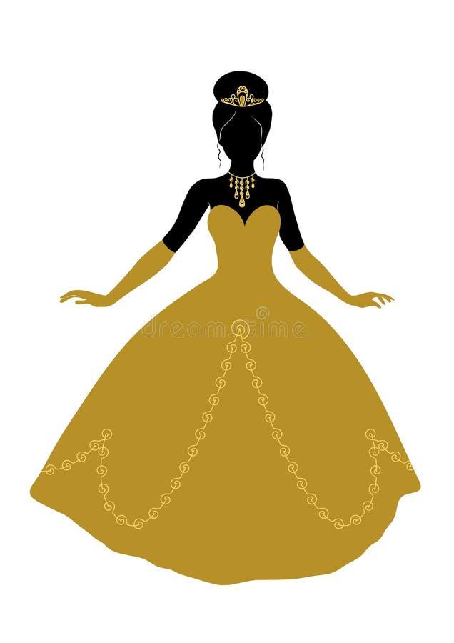 公主黑剪影金黄礼服的 皇族释放例证