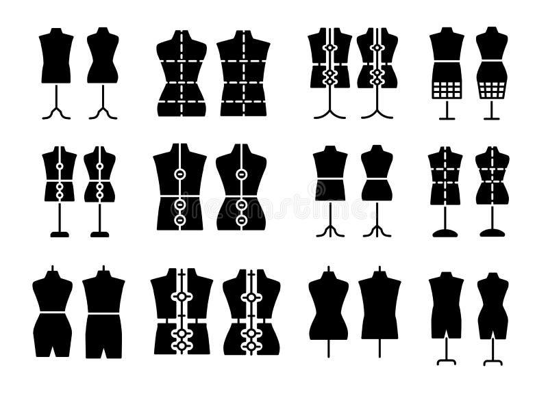 公&母女装裁制业时装模特 裁缝钝汉的标志 显示胸象,躯干 礼服形式 平的象集合 黑&白色传染媒介 向量例证