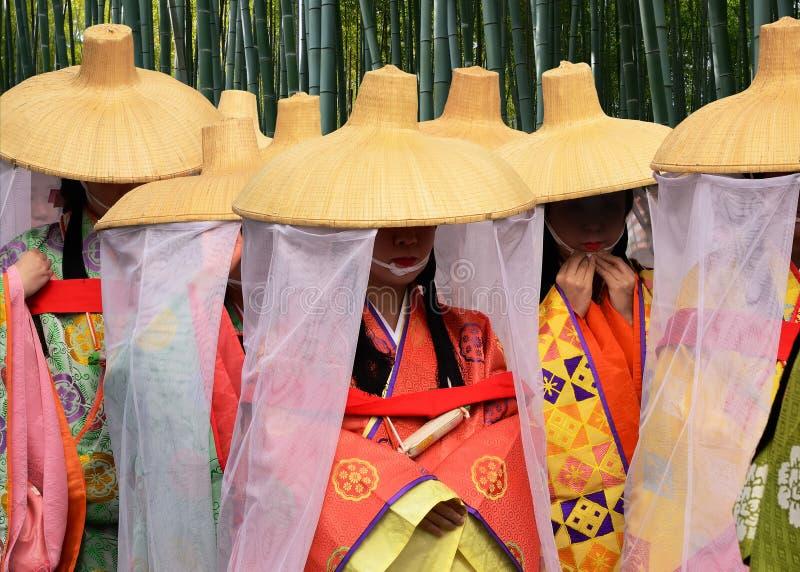 公主Saioh的礼仪游行Arashiyama的京都日本, 库存照片