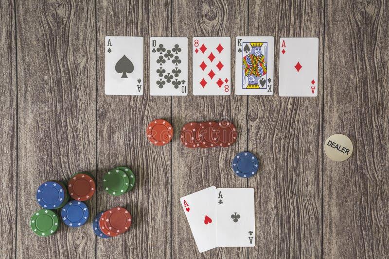 六个卡片啤牌题材,得克萨斯举行 免版税库存图片