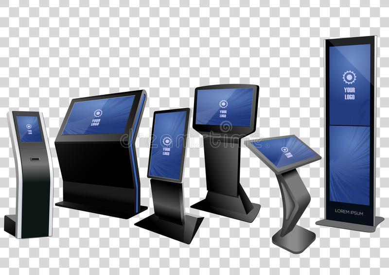 六个增进交互式信息问讯处,给显示做广告,在透明背景隔绝的终端立场 库存例证