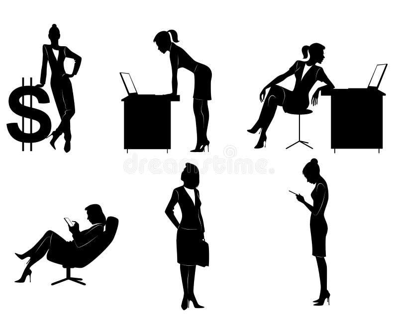 六个女实业家剪影 皇族释放例证
