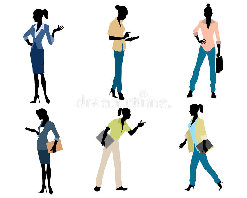 六个女实业家剪影 向量例证