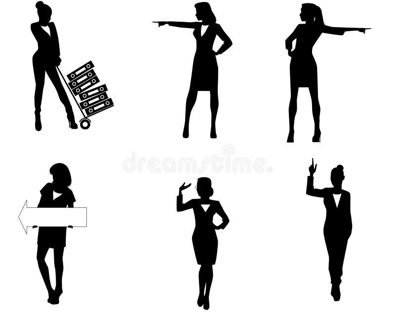 六个女实业家剪影 库存例证