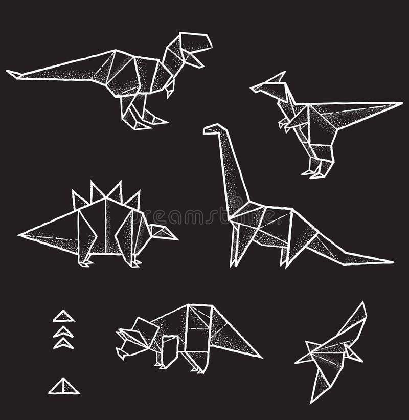 六个手拉的传染媒介origami动物和三角元素的汇集设计的 库存例证