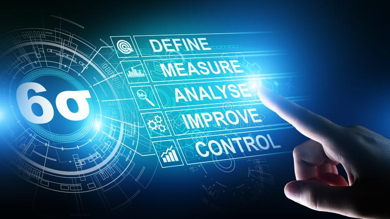 六个斯格码、精瘦的改进概念的制造业、质量管理和工业生产方法 向量例证