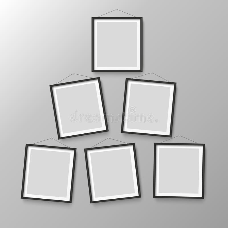 六个木黑照片画框 向量例证
