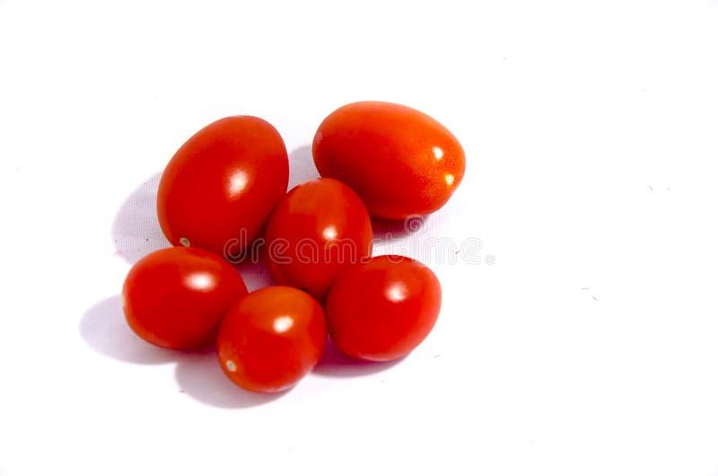 六个深红西红柿 库存照片