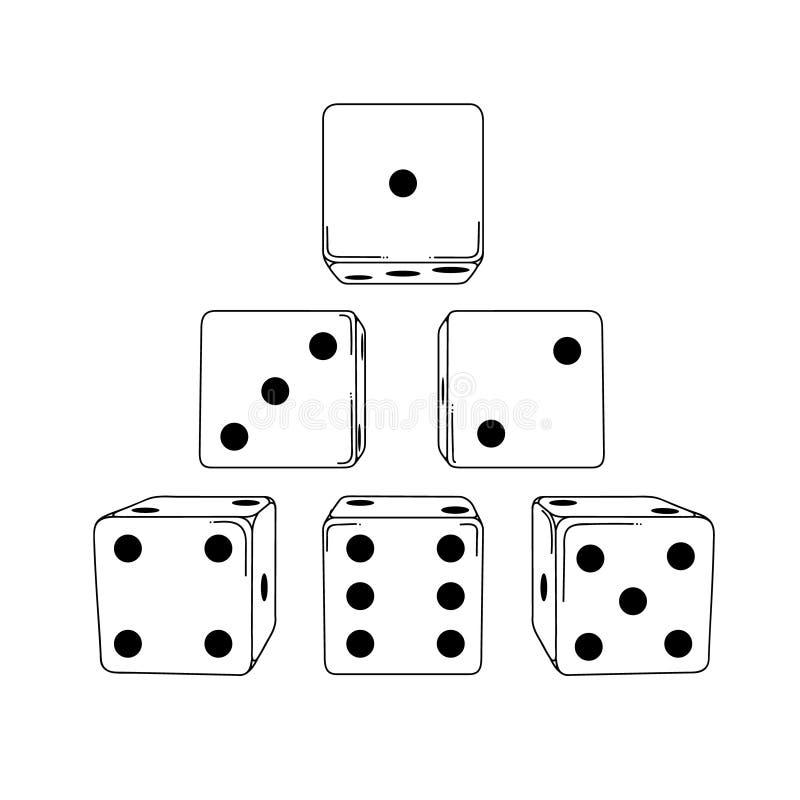六个白色动画片式模子立方体 免版税库存图片