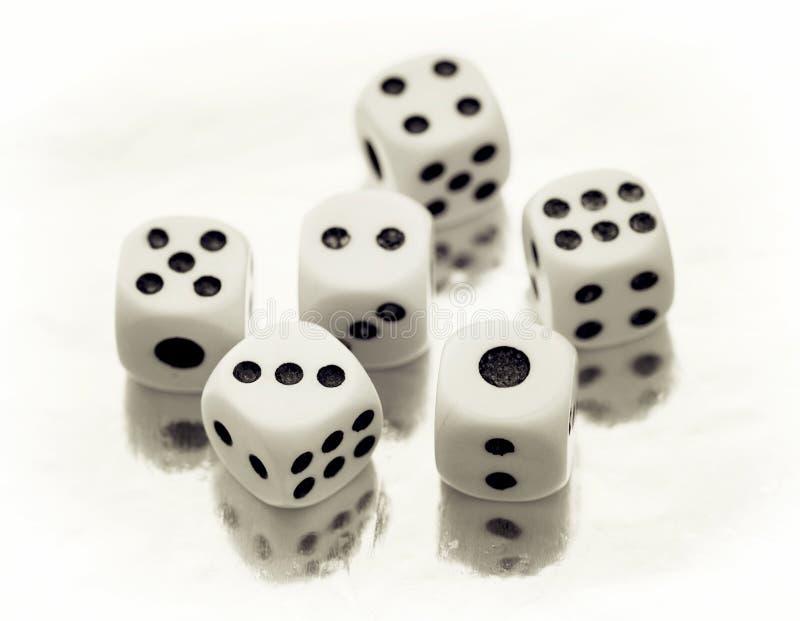 六个赌博娱乐场切成小方块 免版税库存照片