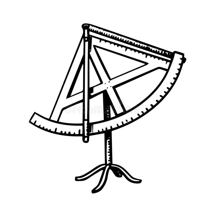 六分仪科学测量仪器 象征的天文在葡萄酒样式的剪影或商标 太阳的设备和 向量例证