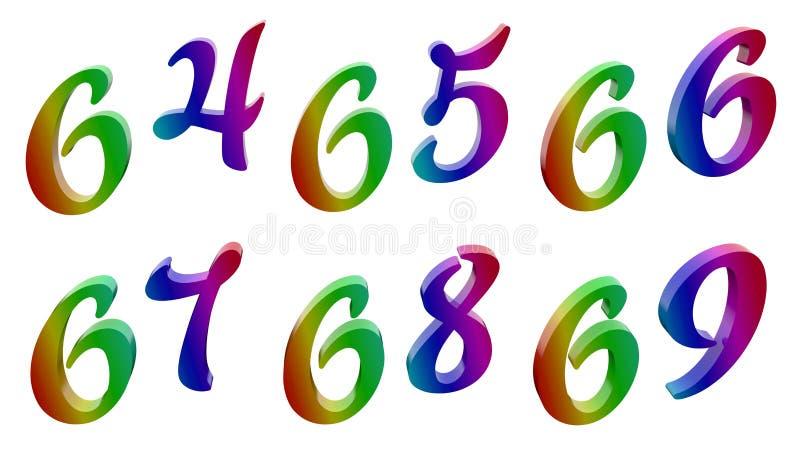 六十四,六十五,六十六,六十七,六十八,六十九, 64, 65, 66, 67, 68, 69个书法3D回报了数字 库存例证