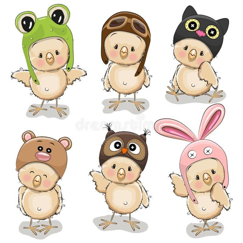 六只逗人喜爱的小鸡 皇族释放例证
