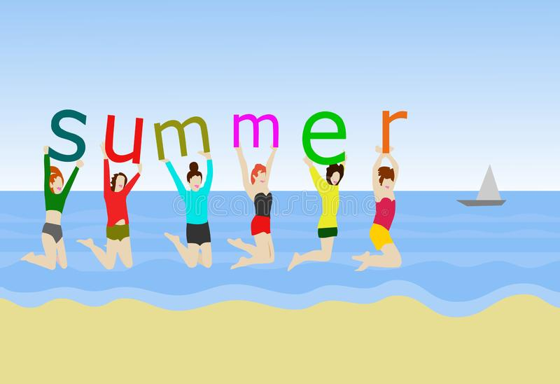 六名妇女在沙子跳 在手中,举行字母表'夏天' 库存例证