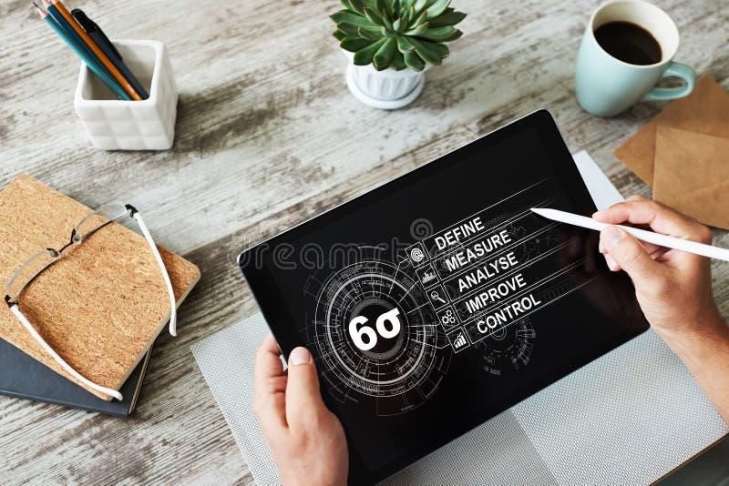 六张斯格码图,精瘦的在屏幕上的制造业工业概念 免版税库存图片