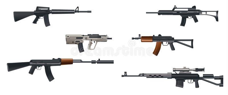 六挺机枪 向量例证